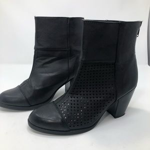 Diba Faux Leather Vegan Black Boho Cutout Booties